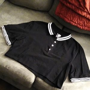 Oversized polo crop top